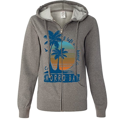 Morro Bay Palm Trees Ladies Lightweight Fitted Zip-Up Hoodie - Gunmetal Heather Large