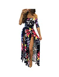 Womens Sexy Off Shoulder High Split Floral Plus Size Short Overlay Rompers