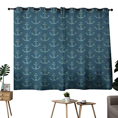 NUOMANAN Window Curtain Fabric Anchor,Stylized Anchors with Maritime Figures Fishes Underwater Sea Animals,Petrol Blue Sky Blue Beige,Insulating Room Darkening Blackout Drapes for Bedroom 52