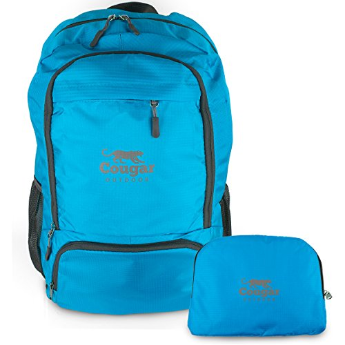 Lightweight Packable Backpack from Cougar Outdoor, Foldable Water Resistant 30L Daypack Best For Travel (Blue)