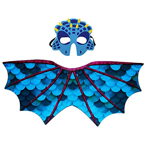 Toddler Kids Dinosaur Wings Costume Cape and Mask for Boys Girls Dragon Dress Up Party Games(Blue) -