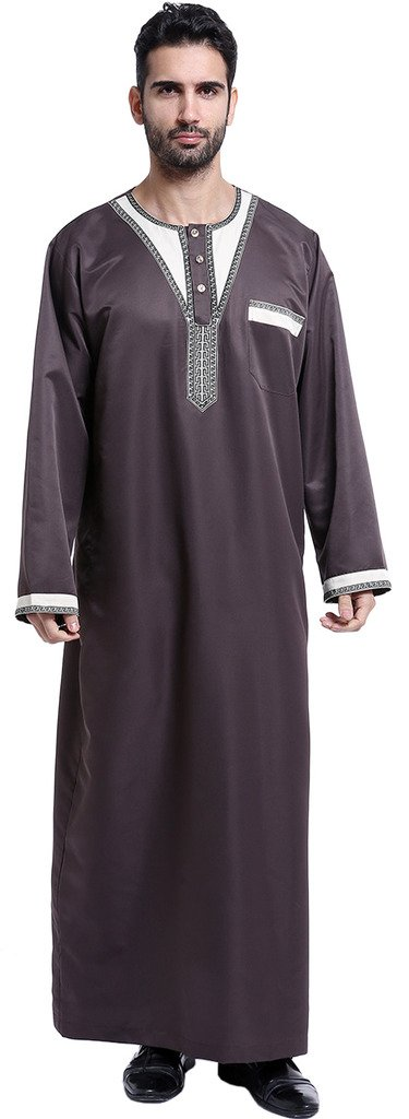 Ababalaya Men's Long Sleeve Scoop Neck Patchwork Muslim Thobes Dishdasha Easter Wear, Coffee, XXL