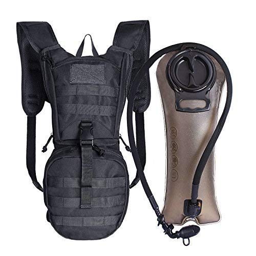 Unigear Tactical Hydration Pack Backpack 900D with 2.5L Bladder for Hiking, Biking, Running, Walking and Climbing(Black)