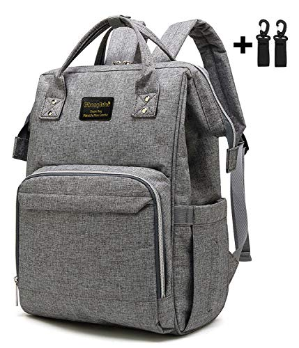 Chongerfei Diaper Bag Backpack Large Capacity Baby Nappy Bags Water-Resistant Baby Bag Travel Backpack Multi-Functional Diaper Mommy Bag 2 Stroller Hooks Included, Gray