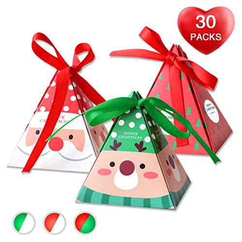 Christmas Candy Boxes,30 Piece Pack of 3 Patterns(Santa/Reindeer/ Christmas)3Dwith Small Label and Gift Cord,Cute Ornament Box for Chocolate,Treats and Cookies - Santa Christmas Box