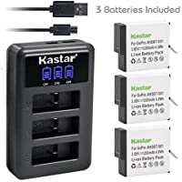 Kastar Battery (3-Pack) & LCD USB Charger for GoPro HERO6, Hero 6 Black, Gopro6, AABAT-00, 601-10197-000 and GoPro AHDBT-601, AHBBP-601 Sport Camera