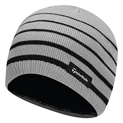 TaylorMade 2017 Thermal Fleece Stripe Beanie Knitted Mens Golf Hat Grey