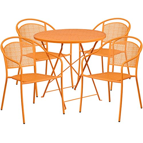 MFO 30'' Round Orange Indoor-Outdoor Steel Folding Patio Table Set with 4 Round Back Chairs