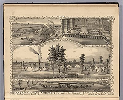 "Map Poster - View: R. Monarch's Distillery, Owensboro, Kentucky. Buckingham, Artist. - 24""x19.5"""