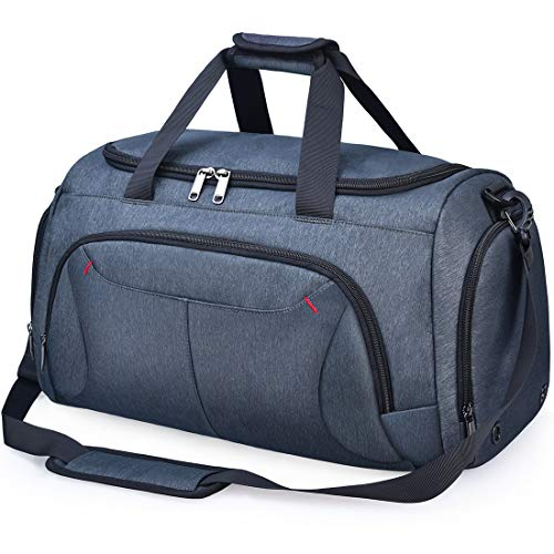 Gym Duffle Bag Waterproof Large Sports Bags Travel Duffel Bags with Shoes Compartment Weekender Overnight Bag Men Women 40L Grey Blue (Weather Resistant Duffle Bags)