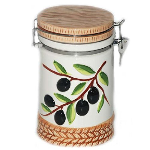 Olive Canister 14.7x11.5x18.2cm, Case of 16 by DollarItemDirect