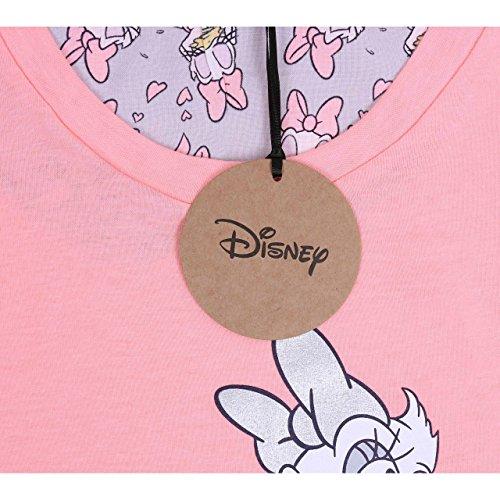 Disney, Daisy Duck, Damen 2tlg. Schlafanzug-Set, Pyjama, Nachtwäsche, Neonrosa