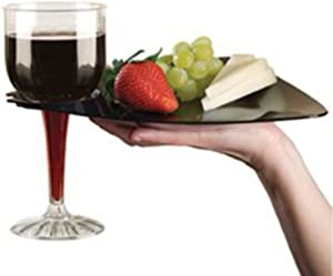 Black Cocktail Buffet Plates with Beverage Holder 10 Pack Party Plates with Wine Stem Holder