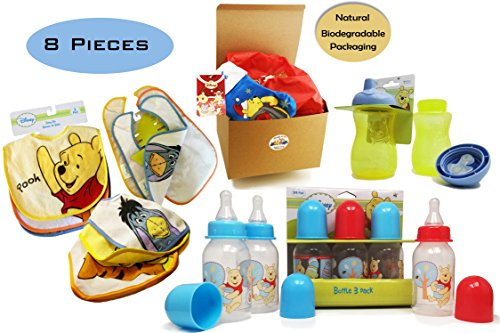 Winnie The Pooh Bundle of Joy 8 pieces Baby Gift Set 3 Pooh Baby Bibs 3 Pooh Baby Bottles 1 BPA Free Pooh Sippy Cup 1 Cute Pooh Christmas Stocking 0-12 Months in Natural Kraft Gift Box for Boys