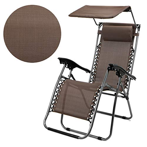 (XtremepowerUS Zero Gravity Chair Adjustable Reclining Chair Pool Patio Outdoor Lounge Chairs w/Cup Holder (Brown-Single w/Sunshade))