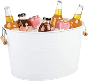 mDesign Metal Beverage Tub & Soda Pop, Beer, Wine, Ice Holder - Portable Party Drink Chiller - 18 Liter Container - Rustic Vintage Farmhouse Oval Storage Bucket Bin - White/Natural Bamboo Wood Handles