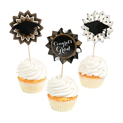 Graduation Fan Picks Black Gold To Add Decorating Flavor 3 Assorted Designs