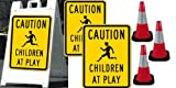 Children At Play Kit - (1) A-Frame Sign Holder (2) 18x24 Children At Play Signs (3) Reflective Safety Cones