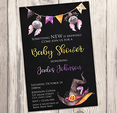 Witch Baby Shower Invitation - Halloween Baby Sprinkle Invite - Fall - Watercolor - Autumn - 4x6