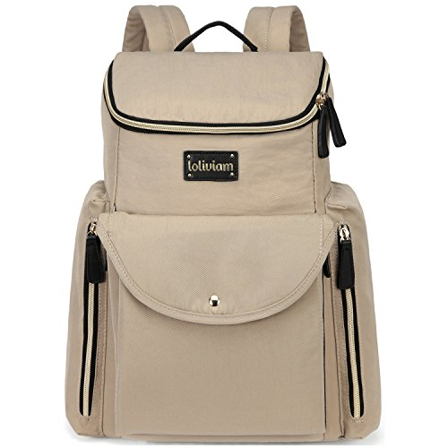 LOLIVIAM Designer Diaper Bag Backpack, Stylish Baby Diaper Bag for Moms and Dads, with Insulated Pocket, Stroller Straps and Changing Pad, Beige price tips cheap