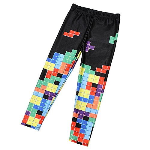 Price comparison product image Coralup Little Girls Cartoon Print Leggings Pants(Tetris,5-6Y)