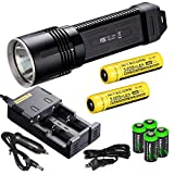 NITECORE P36 2000 Lumen neutral white CREE LED tactical flashlight 2 X Nitecore NL189 18650 3400mAh Li-ion rechargeable batteries, Nitecore i2 charger, in-Car Charging Cable and four EdisonBright CR12
