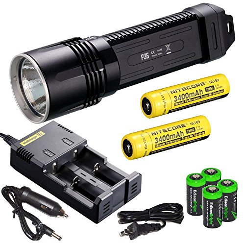 Nitecore P36 2000 Lumen neutral white CREE LED tactical flashlight 2 X NL189 18650 3400mAh Li-ion rechargeable batteries, i2 charger, in-Car Charging Cable and four EdisonBright CR12