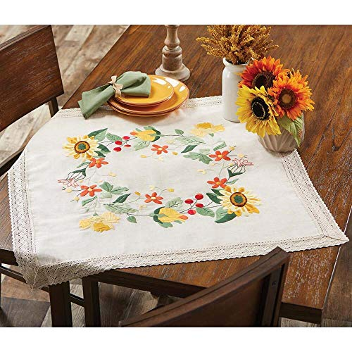 Herrschners® Sunflower & Floral Table Topper w/Lace Stamped Embroidery Kit ()