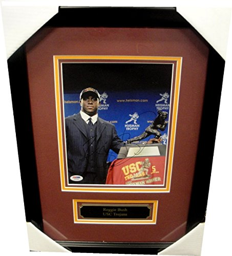 (Reggie Bush Hand Signed Autographed 8x10 Photo USC Heisman Custom Frame PSA/DNA)