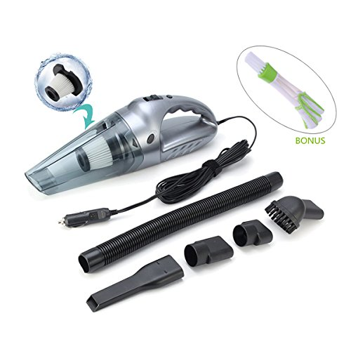 RUISIKIOU Car Vacuum Cleaner Portable Handheld with LED Light High Power 120W Suction for Car and Home 12V Applicated Both Dry & Wet Equipped with Small Cleaning Brush