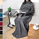 #1: Premium Fleece Blanket with Sleeves by Pavilia | Warm, Cozy, Extra Soft, Functional, Lightweight (Charcoal, Kangaroo Pocket)