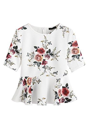 Floral Peplum - ROMWE Women's Cute Floral Print Round Neck Ruffle Hem Peplum Tops White Medium