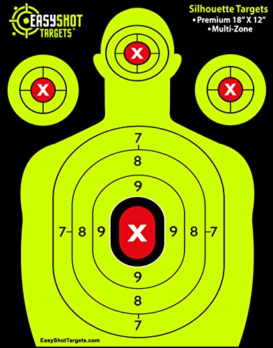 (EASYSHOT Shooting Targets 18 X 12 inch. Shots are Easy to See with Our High-Vis Neon Yellow & Red Colors. Thick Silhouette Paper Sheets for Pistols, Rifles, BB Guns, Airsoft, Pellet Guns & More.)