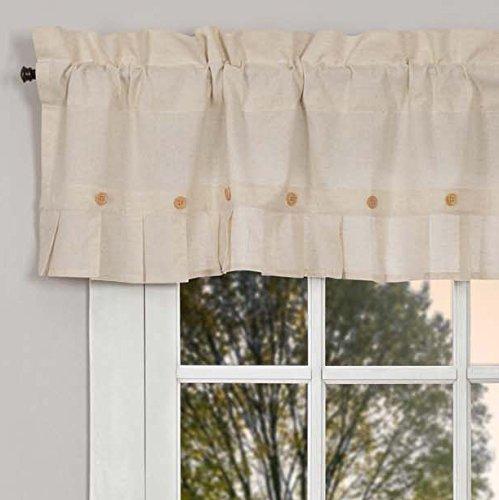 Pleated Button Valance - Piper Classics Clara's Cottage Natural Valance, 16x60, Linen Look Cream Farmhouse Curtain