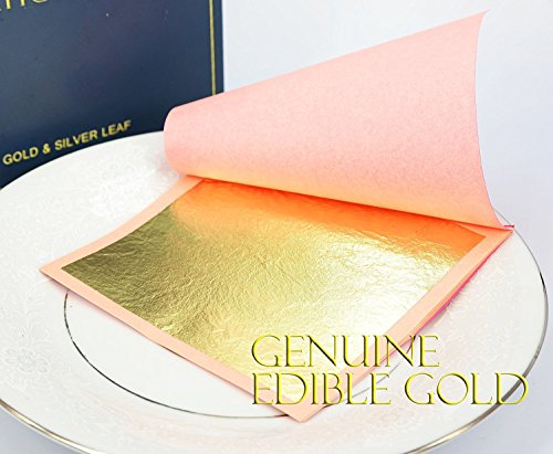 (Edible Genuine Gold Leaf Sheets by Barnabas Blattgold, 10 Sheets (Loose Leaf), 3 1/8 inches Booklet, Professional Quality)