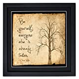 Be Yourself Framed Motivational Poster Featuring a Quote by Oscar Wilde. Eco-Friendly Art Print