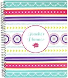 "Bloom Daily Planners Mint Stripe Undated Academic Year Teacher Planner Lesson Plan Book 9"" x 11"" Medallions"