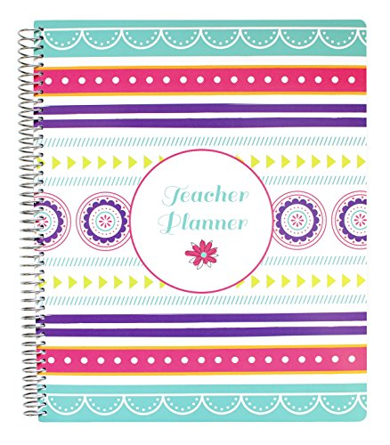 """Bloom Daily Planners Mint Stripe Undated Academic Year Teacher Planner Lesson Plan Book 9"""" x 11"""" Medallions"""