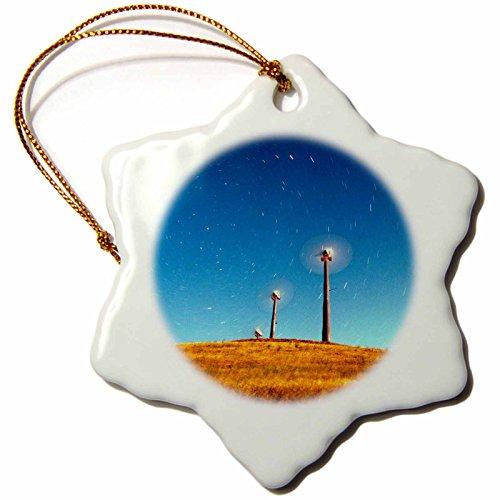 Energy Wind turbines, Full moon-US05 JGS0020-Jim Goldstein Snowflake Ornament ()