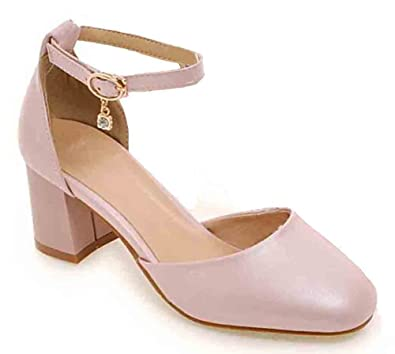 f6918b63b4e6 SFNLD Women s Sweet Square Toe Ankle Strap Buckle Medium Block Heel Pumps  Shoes Pink 4 B