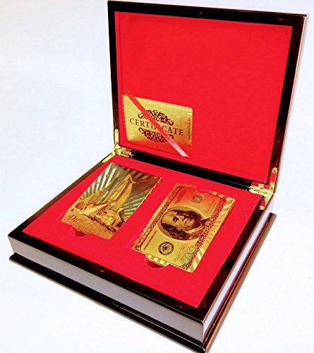 Gold Playing Cards Gift Box Dubi Leopards & Ben Franklin $100 Bill