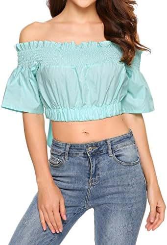 Zeagoo Womens Off The Shoulder Crop Tops Chiffon Blouses Short Sleeve Summer Shirts S-XXL