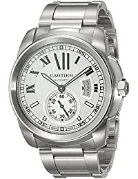 Mens W7100015 Calibre de Cartier Silver-Tone Stainless Steel Opaline Dial Watch