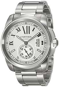 Cartier Men's W7100015 Calibre de Cartier Silver-Tone Stainless Steel Opaline Dial Watch