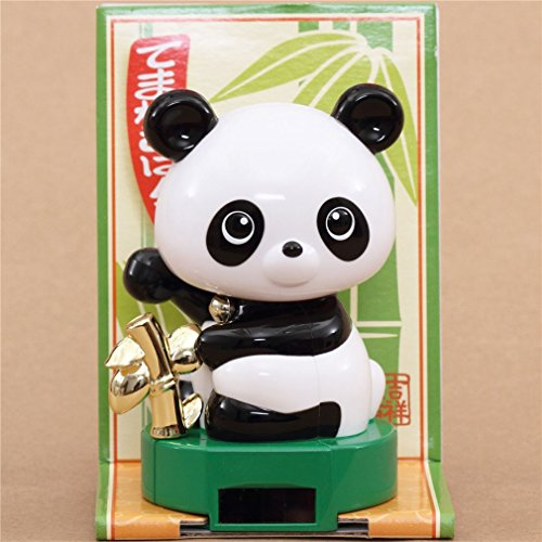Green base panda with bamboo solar powered bobble head toy from Japan Bamboo Bobble Head