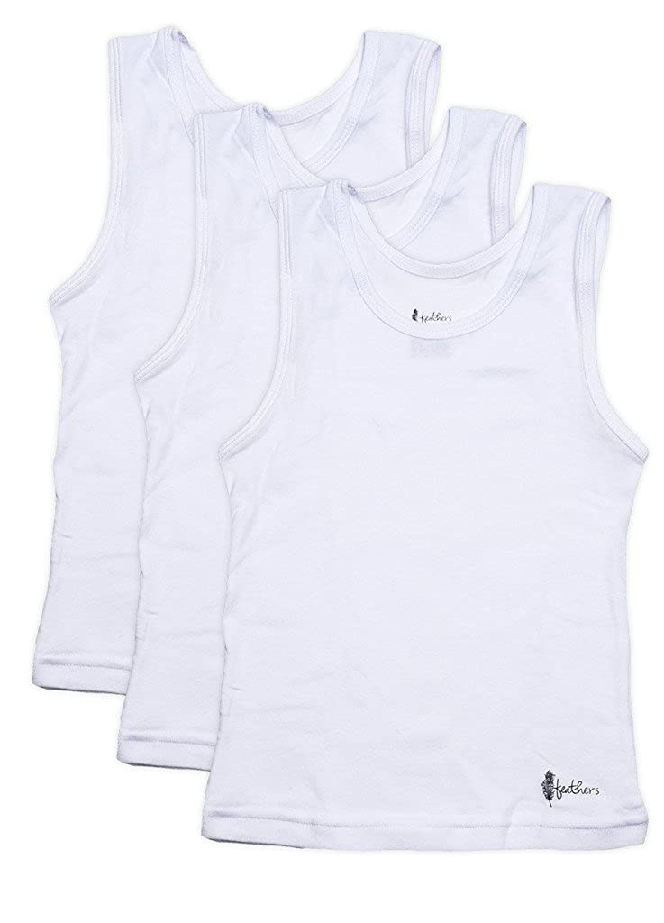 Feathers Boys White Tank 100% Cotton Super Soft Tagless Undershirts 3-Pack