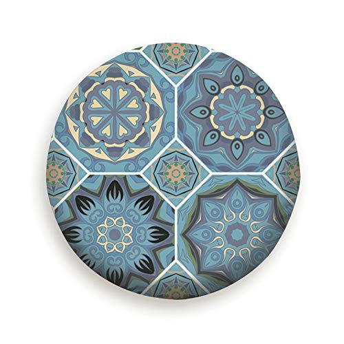 (Spare Tire Cover Gorgeous Floral Tile Design Moroccan Mediterranean Beauty Fashion Polyester Water Proof Dust-Proof Universal Spare Wheel Tire Cover Fit For Jeep,Trailer, Rv, Suv And Many Vehicle)