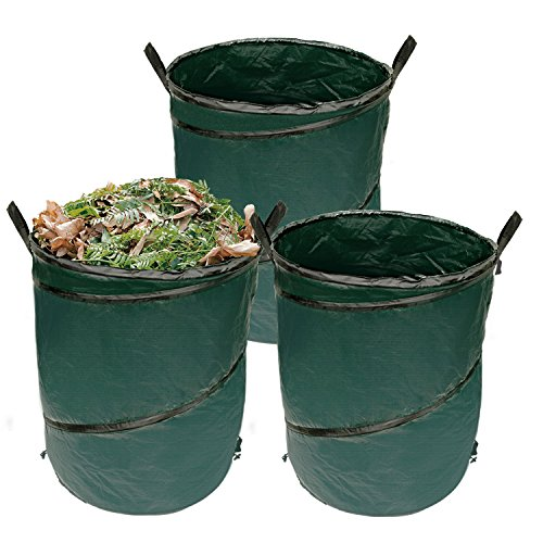 U.S. Garden Supply Durable 45 Gallon Reusable Pop-Up Garden Bags, 3 Pack - Yard Leaf Lawn Grass Waste Trash Container - Heavy Duty Portable Handles - Store Laundry, Toys