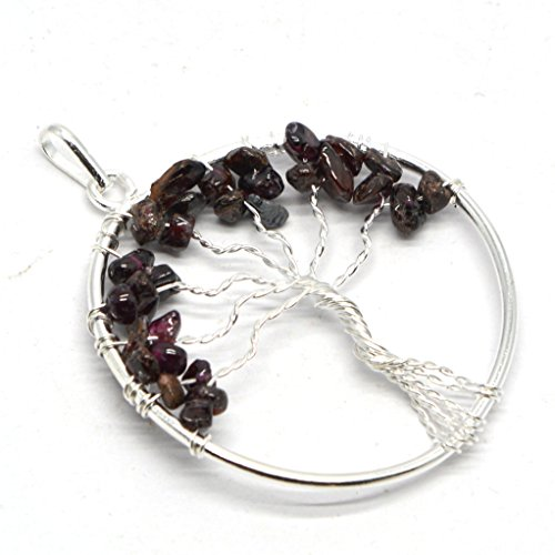 Healing Crystals India Natural Gemstone Gift Crystal Uncut Stone Tree of Life Pendant Handmade with Authenticity Certificate (Natural Garnet) (Uncut Gems compare prices)