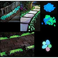 Happie Shop 20 Pcs Glow in The Dark Decorative Stones Pebbles for Garden Decoration and Aquariums